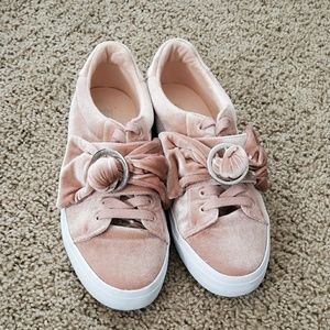 Asos velour bow sneakers